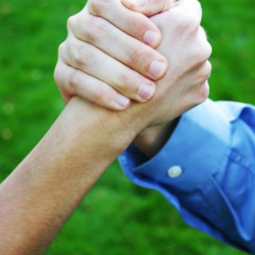 close up of two hands clasping with green grass in background